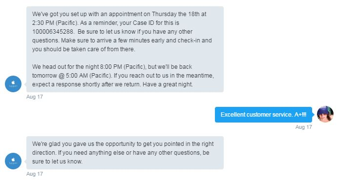 Apple Support providing great example of Customer Experience via Social Support Response 3